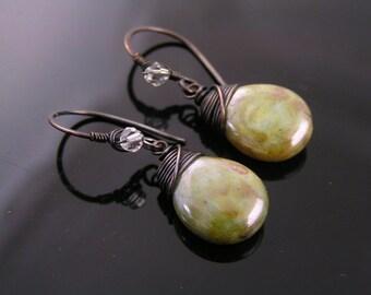 Wire Wrapped Earrings With Czech Glass Drops, Silver Green Earrings, Handmade Artisan Earrings, Bead Earrings, Czech Bead Jewelry,