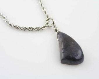 Iolite Necklace, Large Iolite Pendant on Rope Chain, Iolite Jewelry, Blue Gemstone Necklace, Gem Jewelry, Gem Necklace