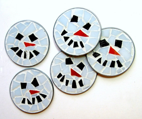 ONE Snowman Magnet,  Frosty Snow Man Mosaic Magnet, Snowman Magnet, Round Holiday Mosaic Magnet, Holdiay Magnet, Snow Winter Magnet