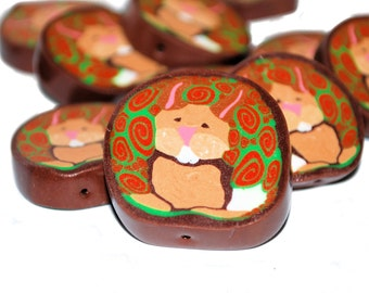 Polymer Clay Cane - Bunny - One of a Kind - Bag of 13 - Pendants - Liquidation Sale