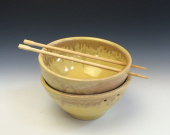 Rice Noodle Bowl in Sunshine Yellow and Purple