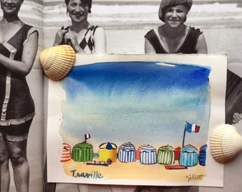 Original watercolor of Cabanas on the beach at Trouville #2