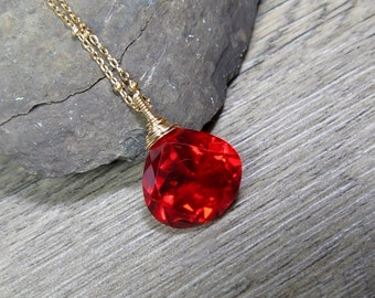 Red Quartz Necklace, Solitaire Pendant, Wire Wrapped Gemstone, Gold Fill Necklace, Gift for Her, Handmade by MiShelli