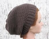 Crochet Slouchy Beanie Hat in Graphite Gray
