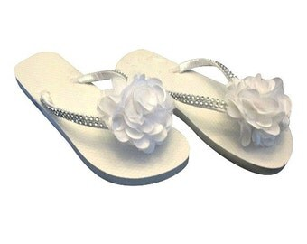 Bridal Flip Flops, Wedding Flip Flops, Thongs, Flower Flip Flops, Bling Bride Bridesmaid Flower Girl Rhinestones