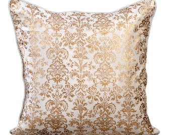Decorative Throw Pillow Covers 18x18 Inches Ivory White Velvet with Gold Print Pillow Case Accent Pillows Toss Pillows Gold Festive