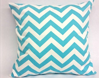 Decorative Throw Pillow Blue and White Pillow With a Zipper Chevron Fabric Pillow