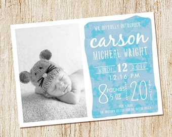 Baby Boy Birth Announcement, Watercolor Birth Announcement, Calligraphy,Typography, Baby Announcement, Printable or printed - Photo Card