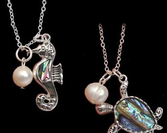 MERZIEs silver U PICK seahorse sea turtle ABALONE shell freshwater Pearl ocean beach water pendant chain necklace  SHIPs to USA