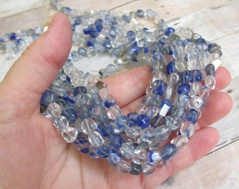 25% Off Sale Tanzanite Blue Natural  Clear Rock Crystal Quartz Nugget Beads, 6mm 7mm 8mm 9mm Nugget Beads
