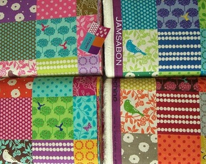 Japanese Cotton linen fabric / ECHINO by Etsuko Furuya - Story patchwork , fat quarters, 4-piece set