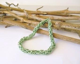 Green Chain Bracelet, Sea Foam Green Byzantine Bracelet, 8 Inch Bracelet