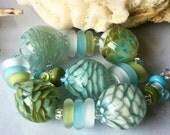 Seashore Blooms Encasement Florals Handmade Lampwork Glass Beads SRA
