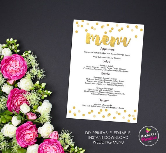 gold confetti printable editable menu cards instant download