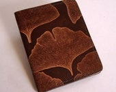 Leather Money Clip Wallet with Ginkgo Leaf Design - Spring Steel Clip