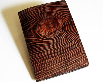 "Leather Journal Cover - Moleskine Notebook Cover - Fits 5"" x 8.25"" Cahiers - Wood Grain Design"