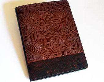 Leather Notebook Cover with Kaleidoscope Design - Fits 5x8 Inch Notepad (Small Legal Pad)
