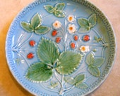 Antique Majolica Plate - Blue Display Plates - Collectible French Country Decor - Strawberry Fruit Platter - GS Zell Germany