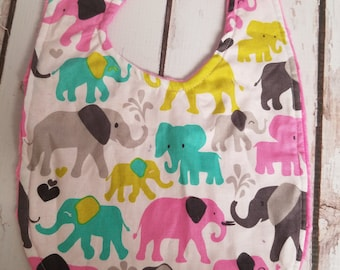 Elephant bib with minky backing