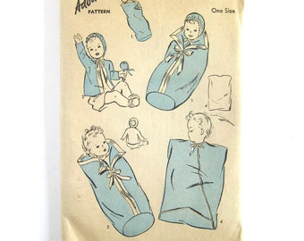1940s Vintage Sewing Pattern / Infant Bunting Sleeping Hooded Jacket / Advance 3354 / One Size Infant