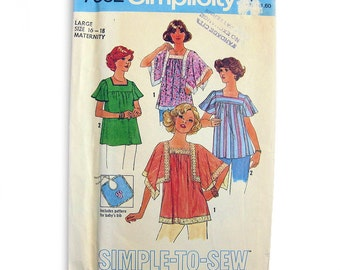 1970s Maternity Top Pattern Flutter Sleeves Hippie Top Angel Sleeves Simplicity 7852 / Size 16 18 UNCUT FF