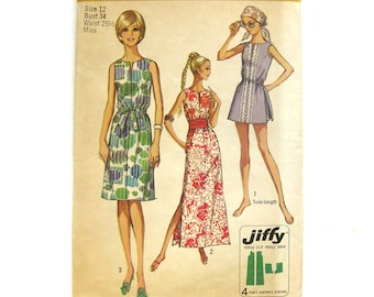 Ankle Length Dress or Tunic and Shorts  / Tea Timer / Vintage Sewing Pattern - Simplicity 9359 / Size 12 UNCUT FF