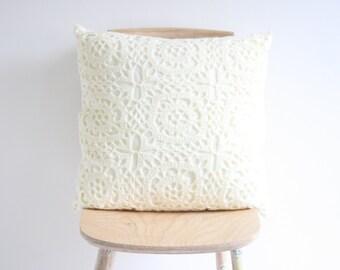 Big ecru crochet pillowcase