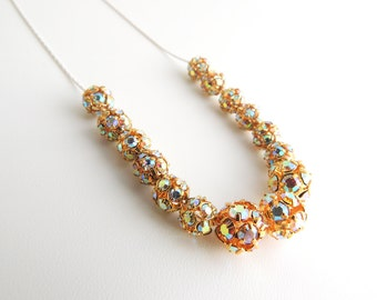 Gold Rhinestone Beaded Necklace -- Beautiful Sparkly Metal Beads -- Sterling Silver Chain & Clasp -- UK Shop