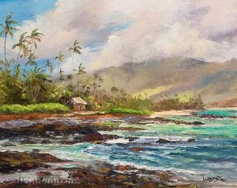 TROPICAL HUT Original 11x14 Palette Knife Oil Painting Art Little Grass Tiki Shack Palm Tree Tahiti Hawaii Island Secluded Ocean Sea Tropics