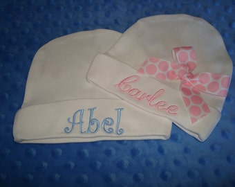 Carlee Abel Personalized Knit Baby Caps Sibling Caps - Caps for Twins Hats for Twins