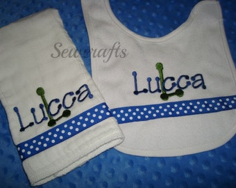Lucca Personalized Bib and Burp Set - Choice of Name and/or up to 3 monograms