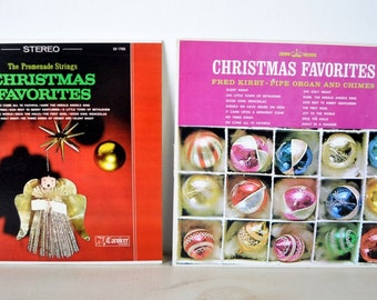 Two vintage 1970s Christmas Albums / Promenade Strings, Stereo albums, Crown Records, Caroling, Fred Kirby, Pipe Organ and chimes