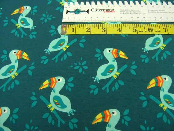 Jersey cockatoo petrol cotton jersey kids knit fabric for Kids knit fabric