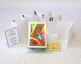 Matchbox Art - keepsake box with booklet - 10 Things I (or We) Love (or Like) About You, rainbow colored miccrobead collage