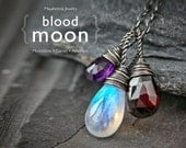 Blood Moon  Rainbow Moonstone Red Garnet and Purple Amethyst Sterling Silver Charm Necklace