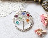 Family Tree Necklace, Family Tree Jewelry, Birthstone Necklace, Wire Tree Necklace, Personalized Necklace, Tree of Life Necklace, Mom