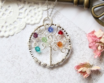 Family Tree Necklace, Family Tree Jewelry, Birthstone Necklace, Wire Tree Necklace, Personalized Necklace, Tree of Life Necklace, Mom