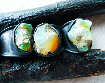 SEMI-ANNUAL SALE Raw opal ring   Rough opal ring   Chunky opal ring   Birthstone ring   Fire opal ring   Opal in silver ring   Raw stone rin