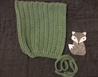 Texture stripe crochet pixie bonnet size 6-12m
