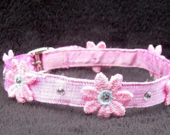 Pink Dupioni Silk Collar with Venice Lace Daisies and Swarovski Crystals