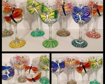 Hand Painted Dragonfly Stemware Glass, Glassware martini wine