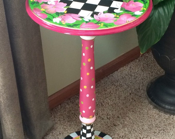 Whimsical Painted Furniture, Whimsical painted table // painted accent table // pedestal table