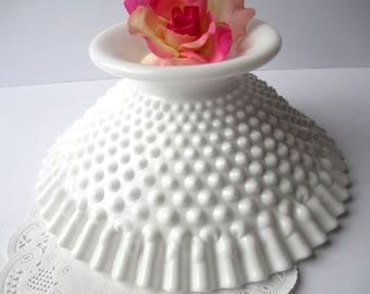Vintage Fenton Milk Glass Hobnail Footed Bowl - Weddings Bridal