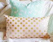 Glitz Metallic Dot Lumbar Pillow Cover - Gold and Blush Pink