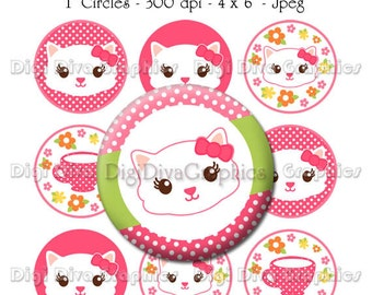 Tea Time Kitty Bottle Cap Images 1 Inch Circles Digital JPG - Instant Download - BC1095