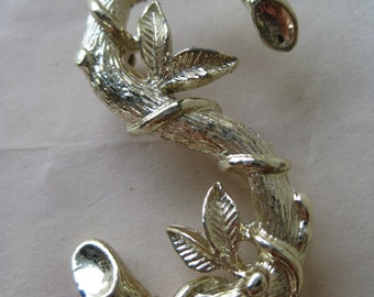S Initial Branch Leaves Gold Brooch Pin Vintage Sarah Coventry