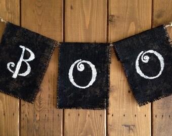 Boo burlap banner -Halloween party -birthday banner -Fall -Autumn decor -back drop photo prop -cake smash -garland spooky boo