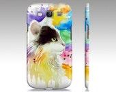 Cat Phone Case Cat 605 Tuxedo colorful - Iphone 6/6s, 5/5s, Ipad Mini, Samsung Galaxy S5, S4, S3 art by L.Dumas