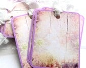 8 Gift Tags, Hang Tags, Distressed Look Wood with Flowers, Lavender White Pink, handmade, Party Favor Tags