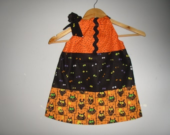 Halloween Dress orange black layered  dress SIZE 3T ONLY ready to ship